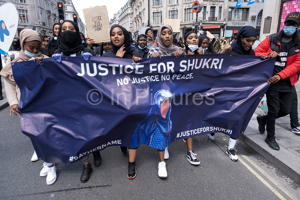 Following the death of George Floyd while in the custody of police in Minneapolis, demonstrations of solidarity have been a regular occurrence all over the world as people gather to protest against institutional racism and in support of the Black Lives Matter movement, as seen here with thousands of young people gathering on 27th June 2020 in London, England, United Kingdom. This protest was specifically in memory and in honour of Shukri Abdi, a Somali girl who drowned in the River Irwell in Bury, Greater Manchester under suspicious circumstances involving alleged bullying. Black Lives Matter is an international human rights movement, originating in the African-American community, that campaigns against violence and systemic racism towards black people.