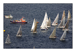 Day 2 of the Bell Lawrie Scottish Series with wild conditions on Loch Fyne for all fleets. Exhilarating and testing racing for Boats and crew...Aerial Grace Ritchie Committee Vessel, start. Class 3