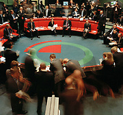 Open outcry  takes place on the floor at the LME on 13th of December 2006 in London.  Established for over 130 years and located in the heart of The City of London, the London Metal Exchange is the worlds premier non-ferrous metals market. Trading takes place across three trading platforms: through open-outcry trading in the 'Ring', through an inter-office telephone market and through LME Select, the Exchange's electronic trading platform.