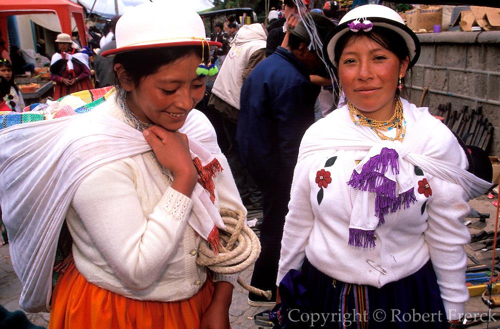 ECUADOR, HIGHLANDS, CANAR Canari Indians with traditional hats
