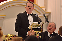 © Licensed to London News Pictures. 17/10/2018. London, UK. Liam Fox, Secretary of State for International Trade gives a keynote speech during the International Trade Banquet at Mansion House. Photo credit: Ray Tang/LNP