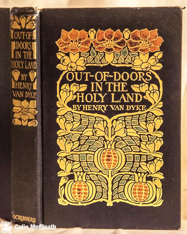 OUT OF DOORS IN THE HOLY LAND, Henry Van Dyke, Charles Scribners New York, 1898, 325 page hardback in original beautifully embossed cover design, Travels through Palestine & Jordan - $75