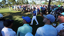 April 8, 2017 - Augusta, GA, USA - Jordan Spieth hits from deep in the gallery on the 15th fairway during the third round of the Masters Tournament at Augusta National Golf Club in Augusta, Ga., on Saturday, April 8, 2017. (Credit Image: © Curtis Compton/TNS via ZUMA Wire)