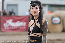 Kissa Von Addams at the Hooligan Flat Track Racing in front of the main stage at the Buffalo Chip during the annual Sturgis Black Hills Motorcycle Rally. SD, USA. August 10, 2016. Photography ©2016 Michael Lichter.