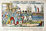Napoleon I  (Napoleon Bonaparte 1769-1821) returning to France from exile in Elba, 26 February 1815, welcomed by his supporters.   Nineteenth century popular French coloured woodcut.
