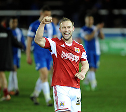Bristol City's Simon Gillett celebrates the win against Peterborough United - Photo mandatory by-line: Dougie Allward/JMP - Mobile: 07966 386802 11/03/2014 - SPORT - FOOTBALL - Peterborough - London Road Stadium - Peterborough United v Bristol City - Sky Bet League One