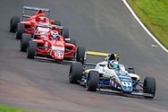 Luke Browning (GBR) of Richardson Racing exits Butchers, closely followed by Tommy Foster (GBR) of Arden Motorsport during Round 23 of the FIA Formula 4 British Championship at Knockhill Racing Circuit, Dunfermline, Scotland on 15 September 2019.