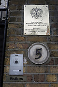 On the day that the British government awaits an explanation from the Kremlin over the poisoning by the nerve gas Novichok in Salisbury of ex-Russian spy Sergei Skripal and his daughter Yulia, a detail of the brass plate outside the Russian Federation Embassy and Consulate Section, on 13th March 2018, in London England.