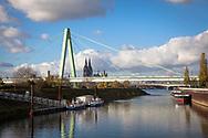 Rhine harbor Deutz, view to the Severins bridge and the cathedral, Cologne, Germany.<br /> <br /> Deutzer Hafen, Blick zur Severinsbruecke und zum Dom, Koeln, Deutschland.