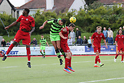 Forest Green Rovers Omar Bugiel(11) goes to head a cross during the Pre-Season Friendly match between Worthing FC and Forest Green Rovers at Woodside Road, Worthing, Uni on 1 August 2017. Photo by Shane Healey.