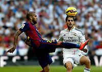 """Spanish  League""- match Real Madrid Vs FC Barcelona- season 2014-15 - Santiago Bernabeu Stadium - Isco (Real Madrid) and Dani Alves(FC Barcelona) in action during the Spanish League match(Photo: Guillermo Martinez / Bohza Press / Alter Photos)"