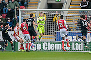 Charile Mulgrew (Blackburn Rovers) heads the ball which Richard O'Donnell (Rotherham United) fails to collect during the EFL Sky Bet Championship match between Rotherham United and Blackburn Rovers at the AESSEAL New York Stadium, Rotherham, England on 11 February 2017. Photo by Mark P Doherty.