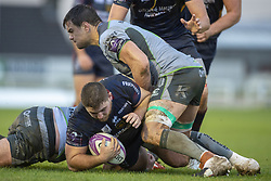 December 8, 2018 - Galway, Ireland - Quentin Walcker of Perpignan tackled by Quinn Roux of Connacht during the European Rugby Challenge Cup between Connacht Rugby and Parpignan at the Sportsground in Galway, Ireland on December 8, 2018  (Credit Image: © Andrew Surma/NurPhoto via ZUMA Press)