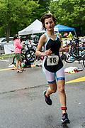 Carolyn Scheungrab begins the running segment of the 2018 Hague Endurance Festival Sprint Triathlon