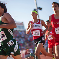 051014       Cable Hoover<br /> <br /> Tuba City Warrior Anthony Masayesva pulls away from the pack on his way to a second-place finish in the 1600-meter race during the Arizona State Track Meet at Mesa Community College Saturday.