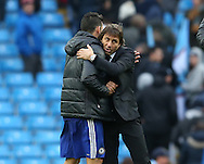 Antonio Conte manager of Chelsea hugs Diego Costa of Chelsea during the Premier League match at the Etihad Stadium, Manchester. Picture date: December 3rd, 2016. Pic Simon Bellis/Sportimage