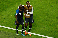 SAINT PETERSBURG, RUSSIA - JULY 10: Ngolo Kante (L) and Benjamin Mendy of France national team celebrate victory during the 2018 FIFA World Cup Russia Semi Final match between France and Belgium at Saint Petersburg Stadium on July 10, 2018 in Saint Petersburg, Russia. MB Media