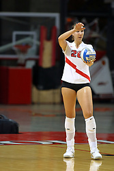 18 AUG 2007: Kari Staehlin prepares to serve. The Illinois State Redbirds, picked for 5th in the pre-season Missouri Valley Conference coaches poll, prepare for the beginning of the season during the annual Red/White inter-squad scrimmage at Redbird Arena in Normal Illinois.