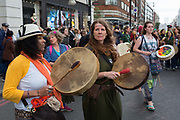 On the 10th consecutive day of protests around London by the climate change campaign Extinction Rebellion, acitivists bang drums on Oxford Street, on 24th April 2019, at Marble Arch, London England.