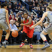 HARTFORD, CONNECTICUT- DECEMBER 19: Linnae Harper #15 of the Ohio State Buckeyes defended by Gabby Williams #15 of the Connecticut Huskies and Katie Lou Samuelson #33 of the Connecticut Huskies during the UConn Huskies Vs Ohio State Buckeyes, NCAA Women's Basketball game on December 19th, 2016 at the XL Center, Hartford, Connecticut (Photo by Tim Clayton/Corbis via Getty Images)