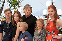 Actors Nicholas Hamilton, Samantha Isler, Charlie Shotwell, Viggo Mortensen, Shree Crooks and Annalise Basso at the Captain Fantastic film photo call at the 69th Cannes Film Festival Tuesday 17th May 2016, Cannes, France. Photography: Doreen Kennedy