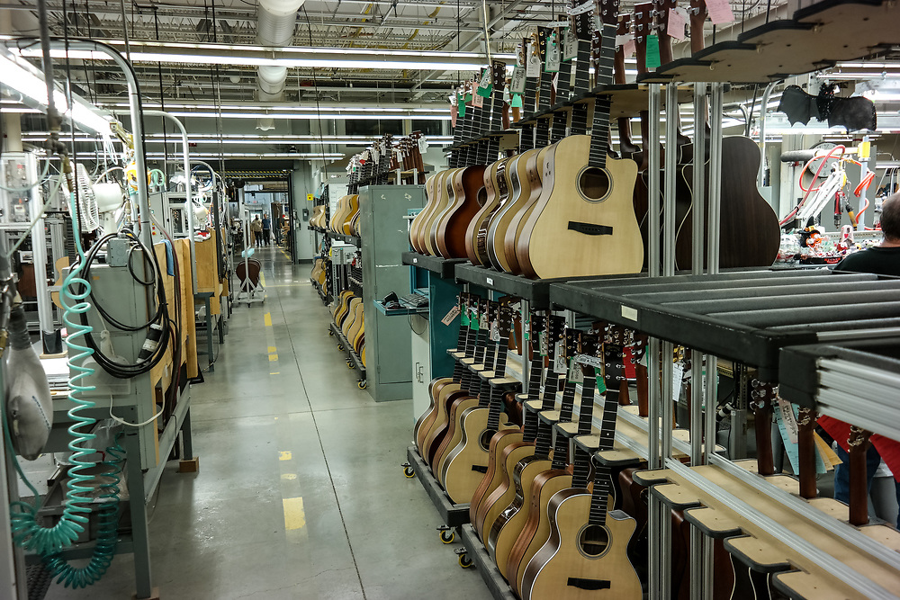 Nazareth, PA, USA - October 27, 2014:  Guitars on the assembly lines in the factory of the Martin Guitar Company in Nazareth, Pennsylvania, USA