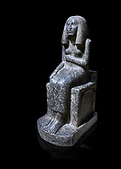 Ancient Egyptian statue of princess Redji, grandorite, Saqqara, Old Kingdom, 3rd Dynasty (2592-2543 BC). Egyptian Museum, Turin. black background.<br /> <br /> The inscriptions at the base of the statue indicates that the statue is of the Kings Daughter named Redji. Never intended as a faithful depiction of the deceased , the statue was placed in the tomb to substitute for the deceased. The statue is in the typical rigid style of the old kingdom with a voluminous wig. .<br /> <br /> If you prefer to buy from our ALAMY PHOTO LIBRARY  Collection visit : https://www.alamy.com/portfolio/paul-williams-funkystock/ancient-egyptian-art-artefacts.html  . Type -   Turin   - into the LOWER SEARCH WITHIN GALLERY box. Refine search by adding background colour, subject etc<br /> <br /> Visit our ANCIENT WORLD PHOTO COLLECTIONS for more photos to download or buy as wall art prints https://funkystock.photoshelter.com/gallery-collection/Ancient-World-Art-Antiquities-Historic-Sites-Pictures-Images-of/C00006u26yqSkDOM
