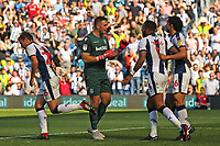 Stoke City's Jack Butland has words with West Bromwich Albion's Kyle Bartley after he has a goal disallowed for handball<br /> <br /> Photographer David Shipman/CameraSport<br /> <br /> The EFL Sky Bet Championship - West Bromwich Albion v Stoke City - Saturday September 1st 2018 - The Hawthorns - West Bromwich<br /> <br /> World Copyright © 2018 CameraSport. All rights reserved. 43 Linden Ave. Countesthorpe. Leicester. England. LE8 5PG - Tel: +44 (0) 116 277 4147 - admin@camerasport.com - www.camerasport.com