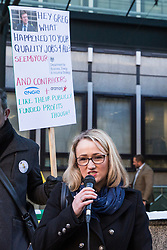 London, UK. 22nd January, 2019. Shadow Secretary of State for Business, Energy and Industrial Strategy (BEIS) Rebecca Long-Bailey addresses BEIS support staff represented by the Public and Commercial Services (PCS) union on the picket line after beginning a strike for the London Living Wage of £10.55 per hour and parity of sick pay and annual leave allowance with civil servants. The strike is being coordinated with receptionists, security staff and cleaners at the Ministry of Justice (MoJ) represented by the United Voices of the World (UVW) trade union.