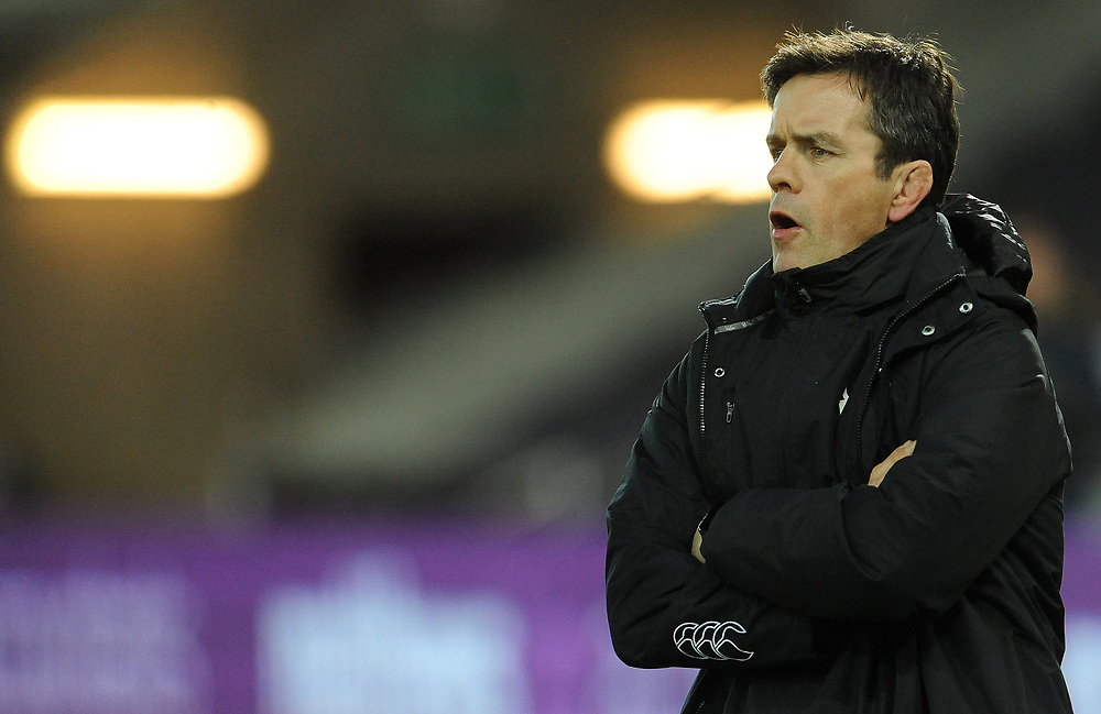 Ospreys' Allen Clarke during the pre match warm up<br /> <br /> Photographer Ian Cook/CameraSport<br /> <br /> Guinness Pro14 Round 15 - Ospreys v Southern Kings - Friday 16th February 2018 - Liberty Stadium - Swansea<br /> <br /> World Copyright © 2018 CameraSport. All rights reserved. 43 Linden Ave. Countesthorpe. Leicester. England. LE8 5PG - Tel: +44 (0) 116 277 4147 - admin@camerasport.com - www.camerasport.com