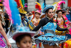© Licensed to London News Pictures. 15/03/2015. LONDON, UK. Dancers parading at St Patrick's Day Parade in central London on Sunday, 15 March 2015. Photo credit : Tolga Akmen/LNP