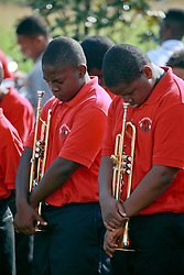 29 August 2013. Lower 9th Ward, New Orleans, Louisiana.<br /> Hurricane Katrina memorial 8 years later. <br /> Children from the McDonogh 35 High School band play at the official memorial in remembrance of the day Hirricane Katrina swamped the community.<br /> Photo; Charlie Varley