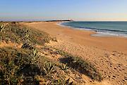 Sandy beach and lighthouse at Cabo de Trafalgar, Cape Trafalgar, Cadiz Province, Spain