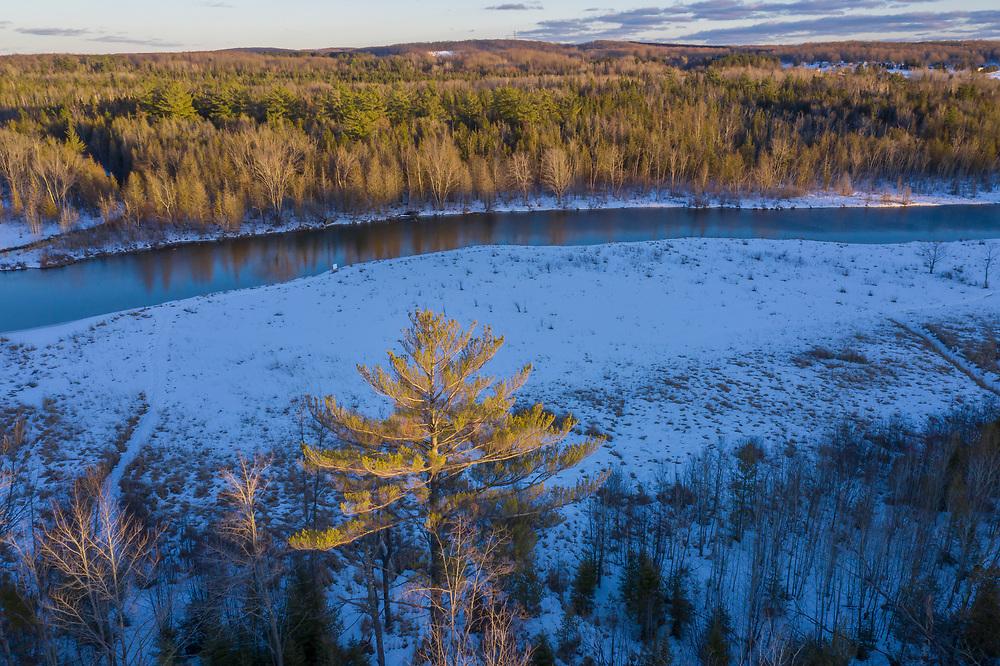 Aerial view of winter landscape near Petoskey, Michigan.