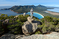 Oceania, Australia; Australian, Tasmania; Coles, Freycinet National Park , Mount Amos Trail, view to Wineglass Bay