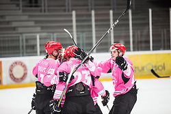 HDD SIJ Jesenice celebrating second goal of the match during Alps Hockey League match between HC Pustertal and HDD SIJ Jesenice, on October 3, 2019 in Ice Arena Podmezakla, Jesenice, Slovenia. Photo by Peter Podobnik / Sportida