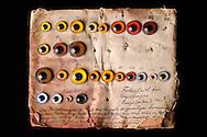Collection of old glass bird eyes, around the end of the 19th Century, Museum of Natural History Berlin..Alte Sammlung von Glasvogelaugen, von ca. Ende des 19. Jh.Museum fuer Naturkunde Berlin.