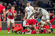 Twickenham, England, 7th March 2020, Rhys WEBB, passing from the the back of the scrum, during the, Guinness Six Nations, International Rugby, England vs Wales, RFU Stadium, United Kingdom, [Mandatory Credit; Peter SPURRIER/Intersport Images]