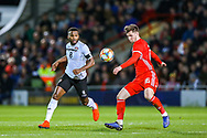 Wales midfielder Lee Evans on the ball during the Friendly European Championship warm up match between Wales and Trinidad and Tobago at the Racecourse Ground, Wrexham, United Kingdom on 20 March 2019.