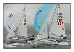 470 Class European Championships Largs - Day 2.Wet and Windy Racing in grey conditions on the Clyde...CRO83, Sime FANTELA, Igor MARENIC, GBR857, Ben SAXTON, Richard MASON, Royal Thames YC..