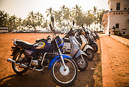 Motorcycles lined up at Agonda Beach, Goa, India