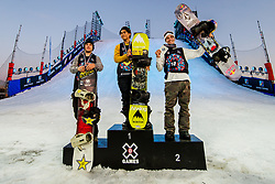 May 19, 2018 - Fornebu, NORWAY - 180519 Chris Corning of USA with the bronze medal, Takeru Otsuka of Japan with the gold medal and Marcus Kleveland of Norway with the silver medal after the menÃ•s big air snowboard finals during X Games Norway on May 19, 2018 in Oslo. .Photo: Vegard Wivestad GrÂ¿tt / BILDBYRN / kod VG / 170170 (Credit Image: © Vegard Wivestad Gr¯Tt/Bildbyran via ZUMA Press)