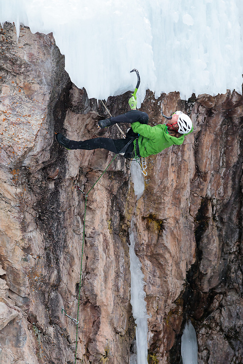 Rudy leading at the Ouray Ice Park