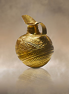 Bronze Age Hattian gold flask from Grave K, possibly a Bronze Age Royal grave (2500 BC to 2250 BC) - Alacahoyuk - Museum of Anatolian Civilisations, Ankara, Turkey. Against a warm art background .<br /> <br /> If you prefer to buy from our ALAMY PHOTO LIBRARY  Collection visit : https://www.alamy.com/portfolio/paul-williams-funkystock/royal-tombs-alaca-hoyuk-bronze-age.html (TIP refine search by adding background colour in the LOWER search box)<br /> <br /> Visit our ANCIENT WORLD PHOTO COLLECTIONS for more photos to download or buy as wall art prints https://funkystock.photoshelter.com/gallery-collection/Ancient-World-Art-Antiquities-Historic-Sites-Pictures-Images-of/C00006u26yqSkDOM