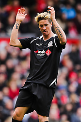 Fernando Torres gestures after missing a chance - Photo mandatory by-line: Dougie Allward/JMP - Mobile: 07966 386802 - 29/03/2015 - SPORT - Football - Liverpool - Anfield Stadium - Gerrard's Squad v Carragher's Squad - Liverpool FC All stars Game