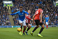 Portsmouth Midfielder, Jamal Lowe (10) gets away from Sunderland Midfielder, Aiden McGeady (19) during the EFL Sky Bet League 1 match between Portsmouth and Sunderland at Fratton Park, Portsmouth, England on 22 December 2018.