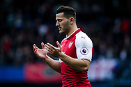 Sead Kolasinac of Arsenal prays just before the game starts.  Premier league match, Chelsea v Arsenal at Stamford Bridge in London on Sunday 17th September 2017.<br /> pic by Kieran Clarke, Andrew Orchard sports photography.