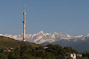 Television tower of Almaty, Altau Range in background, Kazakhstan