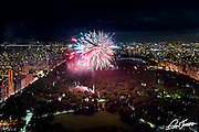 View of Central Park from a private residence at One57 showing fireworks.