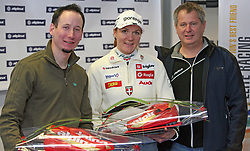 Czech cross-country skier Lukas Bauer (the best in 2007/2008 season in the world), Petra Majdic and Matjaz Lenassi (general manager of Alpina Ziri) at Alpina presentation of new cross-country shoes with red dot award: product design, on April 24, 2008, in Pokljuka, Rudno polje, Slovenia.  (Photo by Vid Ponikvar / Sportal Images)/ Sportida)